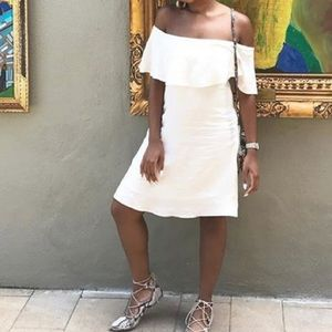 White linen off the shoulder dress